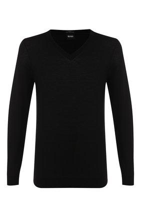 Мужской шерстяной пуловер BOSS черного цвета, арт. 50378576 | Фото 1