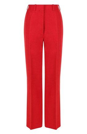 Однотонные брюки из льня со стрелками Hillier Bartley красные | Фото №1