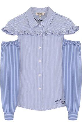 Блуза из смеси хлопка и полиэстера с оборками и контрастными рукавами | Фото №1