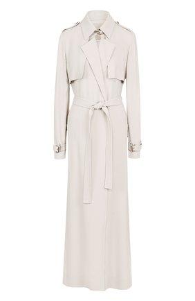 Однотонное пальто с поясом и погонами | Фото №1