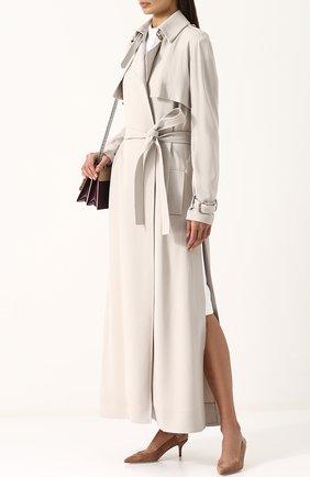 Однотонное пальто с поясом и погонами Elie Saab серого цвета | Фото №1