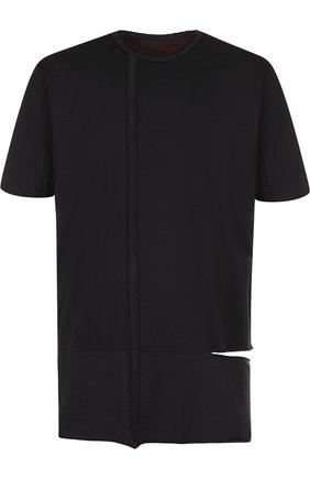 Хлопковая удлиненная футболка Ziggy Chen черная | Фото №1