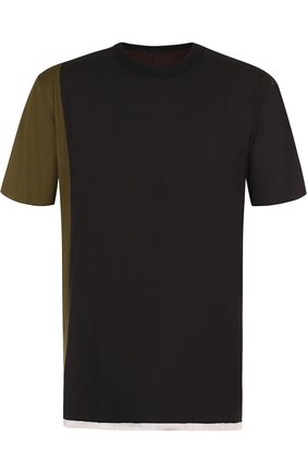 Хлопковая футболка с контрастной отделкой Ziggy Chen черная | Фото №1