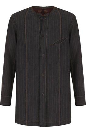 Льняная рубашка с воротником стойкой Ziggy Chen черная | Фото №1