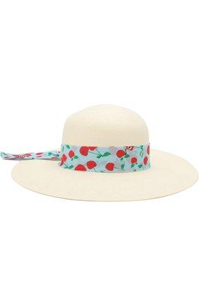 Детская шляпа с широкими полями и бантом FENDI голубого цвета, арт. JFP065/0Q6 | Фото 1