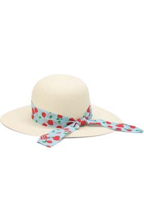 Детская шляпа с широкими полями и бантом FENDI голубого цвета, арт. JFP065/0Q6 | Фото 2