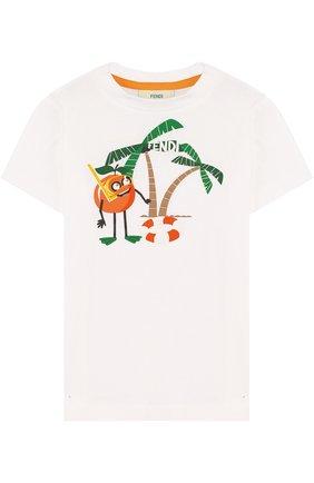 Детская хлопковая футболка с принтом FENDI белого цвета, арт. JMI186/7AJ/2A-5A | Фото 1