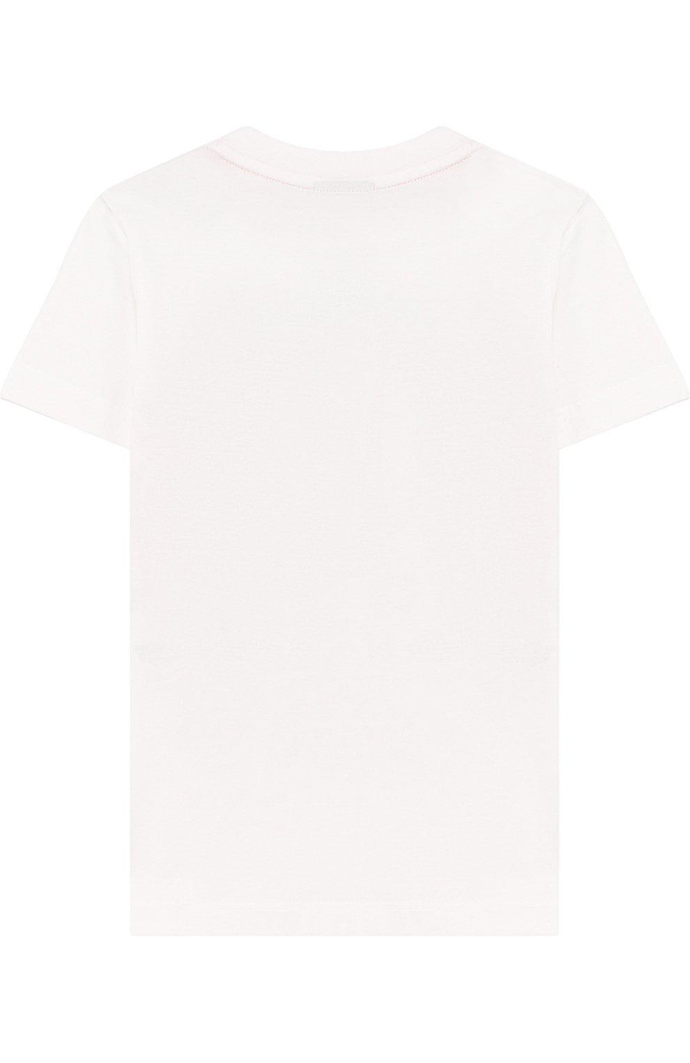 Детская хлопковая футболка с принтом FENDI белого цвета, арт. JMI186/7AJ/2A-5A | Фото 2