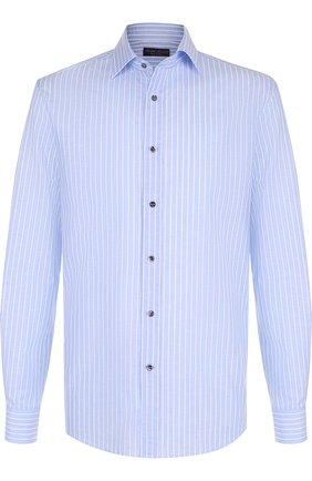 Мужская сорочка из смеси хлопка и льна RALPH LAUREN голубого цвета, арт. 791695317 | Фото 1