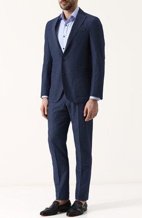 Мужская сорочка из смеси хлопка и льна RALPH LAUREN голубого цвета, арт. 791695317 | Фото 2