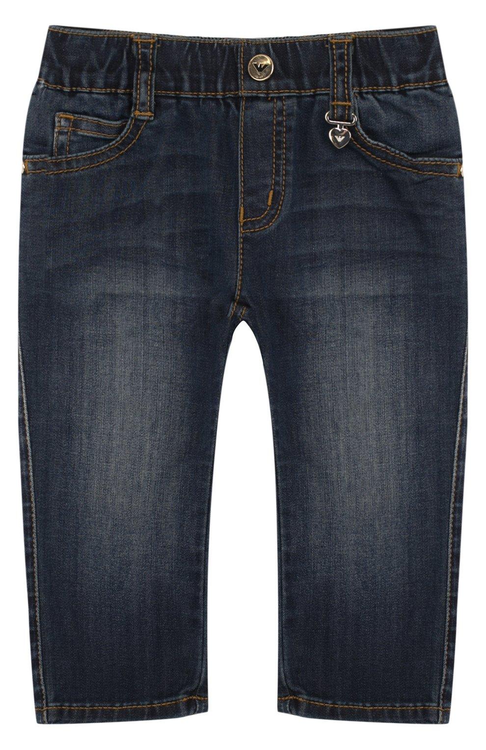 Детские джинсы с декоративными потертостями и эластичной вставкой на поясе ARMANI JUNIOR синего цвета, арт. 3ZEJ23/3DFAZ | Фото 1