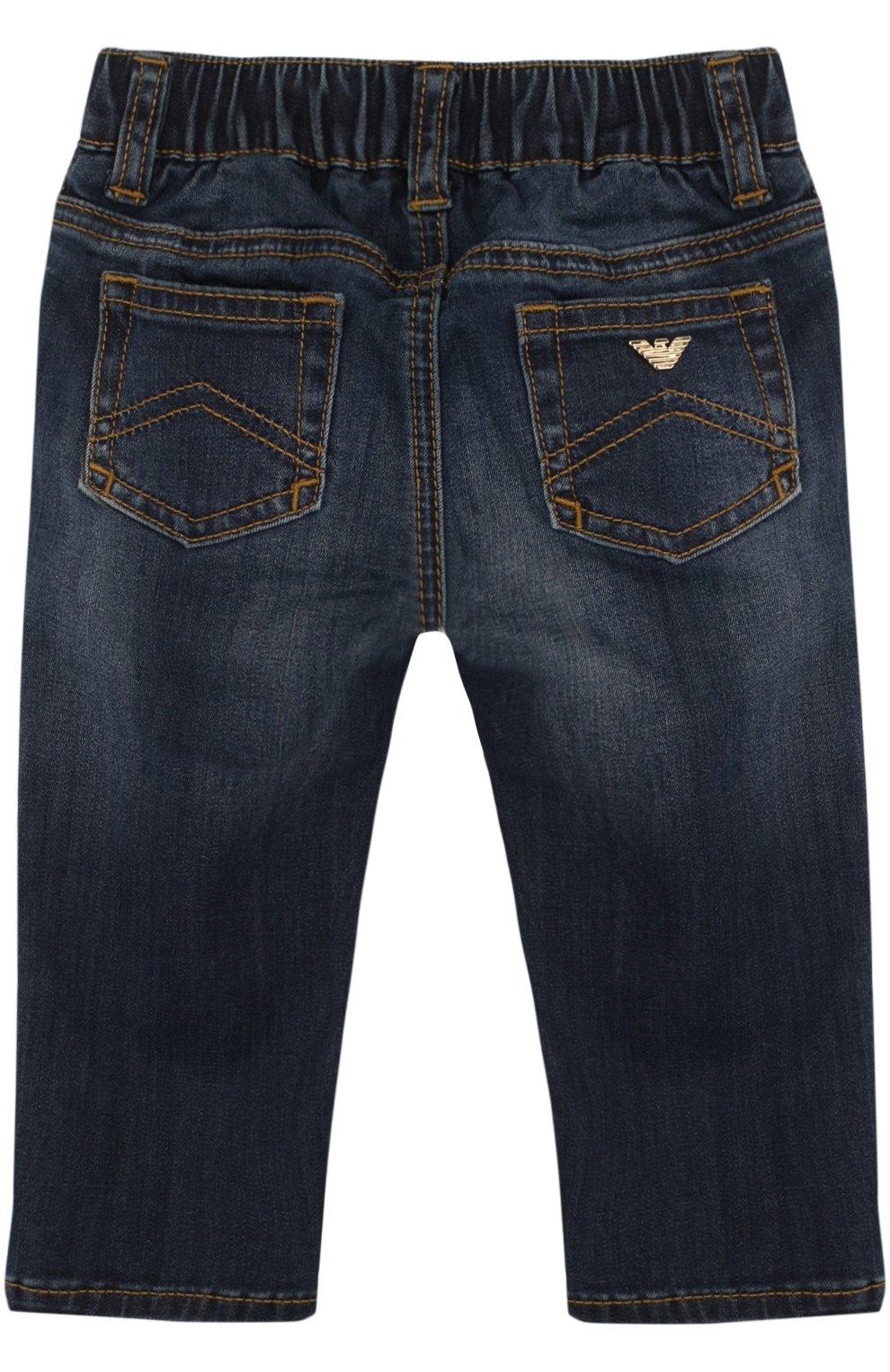 Детские джинсы с декоративными потертостями и эластичной вставкой на поясе ARMANI JUNIOR синего цвета, арт. 3ZEJ23/3DFAZ | Фото 2