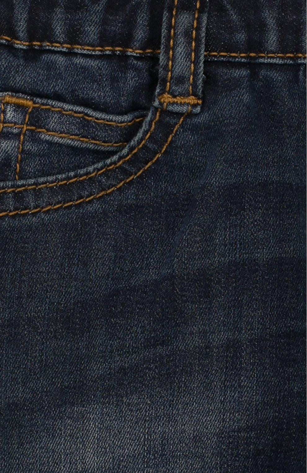 Детские джинсы с декоративными потертостями и эластичной вставкой на поясе ARMANI JUNIOR синего цвета, арт. 3ZEJ23/3DFAZ | Фото 3