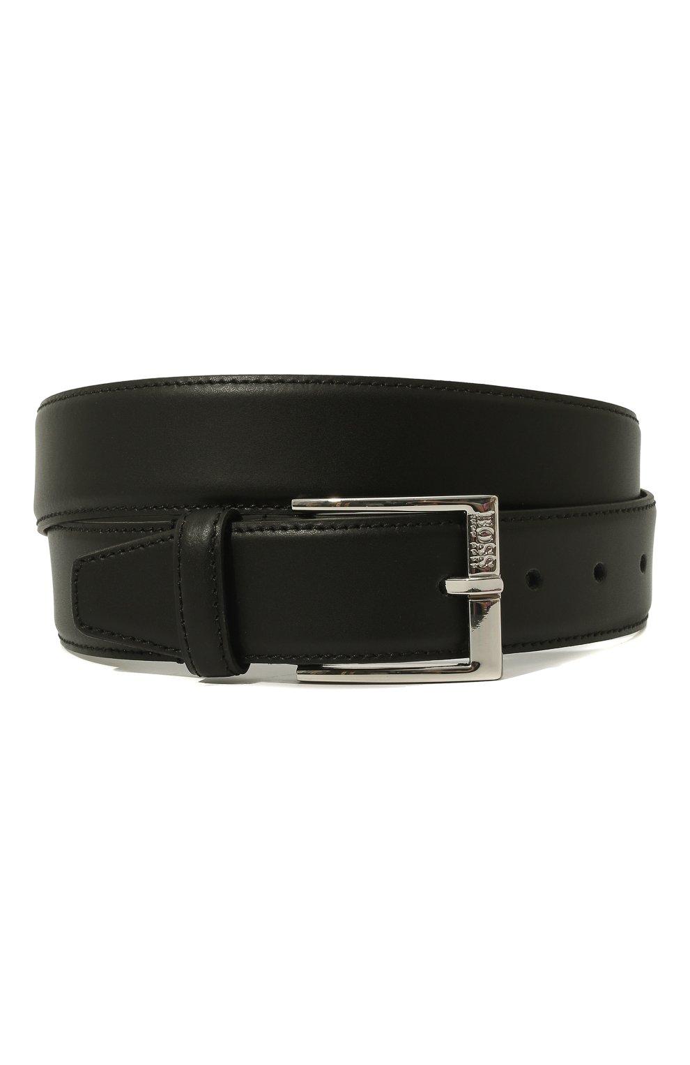 Мужской кожаный ремень BOSS черного цвета, арт. 50385849 | Фото 1
