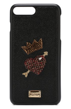 Кожаный чехол для iPhone 8 Plus с аппликацией | Фото №1