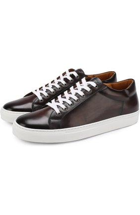 Мужские кожаные кеды на шнуровке RALPH LAUREN темно-коричневого цвета, арт. 815576547 | Фото 1