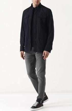 Мужские кожаные кеды на шнуровке RALPH LAUREN темно-коричневого цвета, арт. 815576547 | Фото 2
