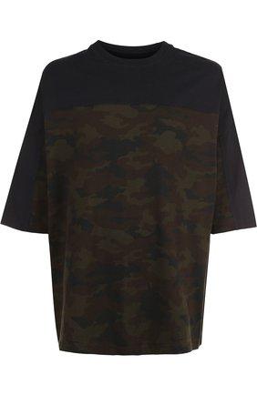 Хлопковая удлиненная футболка   Фото №1