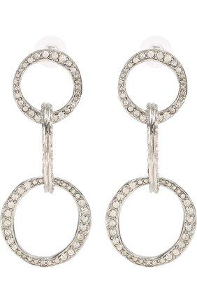 Женские серьги с отделкой стразами OSCAR DE LA RENTA серебряного цвета, арт. S18J184ASL | Фото 1