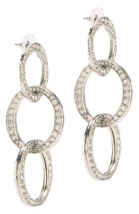 Женские серьги с отделкой стразами OSCAR DE LA RENTA серебряного цвета, арт. S18J184ASL | Фото 2