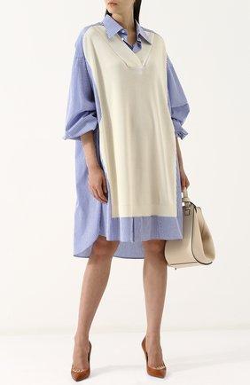Платье свободного кроя из смеси хлопка и вискозы Maison Margiela бежевое | Фото №1
