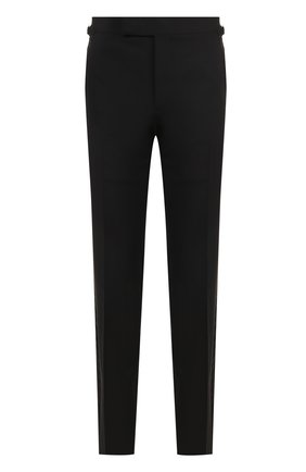 Мужской шерстяные брюки прямого кроя TOM FORD черного цвета, арт. 322R12/610048 | Фото 1