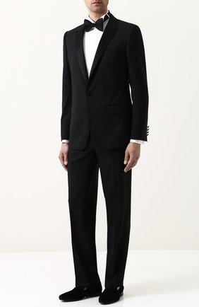 Мужской шерстяные брюки прямого кроя TOM FORD черного цвета, арт. 322R12/610048 | Фото 2