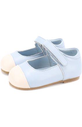 Детские кожаные туфли с застежками велькро Age of Innocence розового цвета   Фото №1