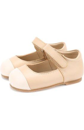 Кожаные туфли с застежками велькро   Фото №1
