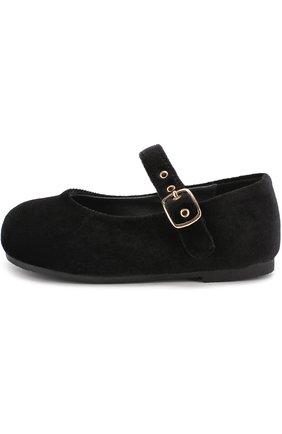 Детские текстильные туфли на ремешке Age of Innocence черного цвета   Фото №1