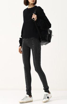 Однотонный пуловер из смеси хлопка и кашемира Ben Taverniti Unravel Project черный | Фото №1