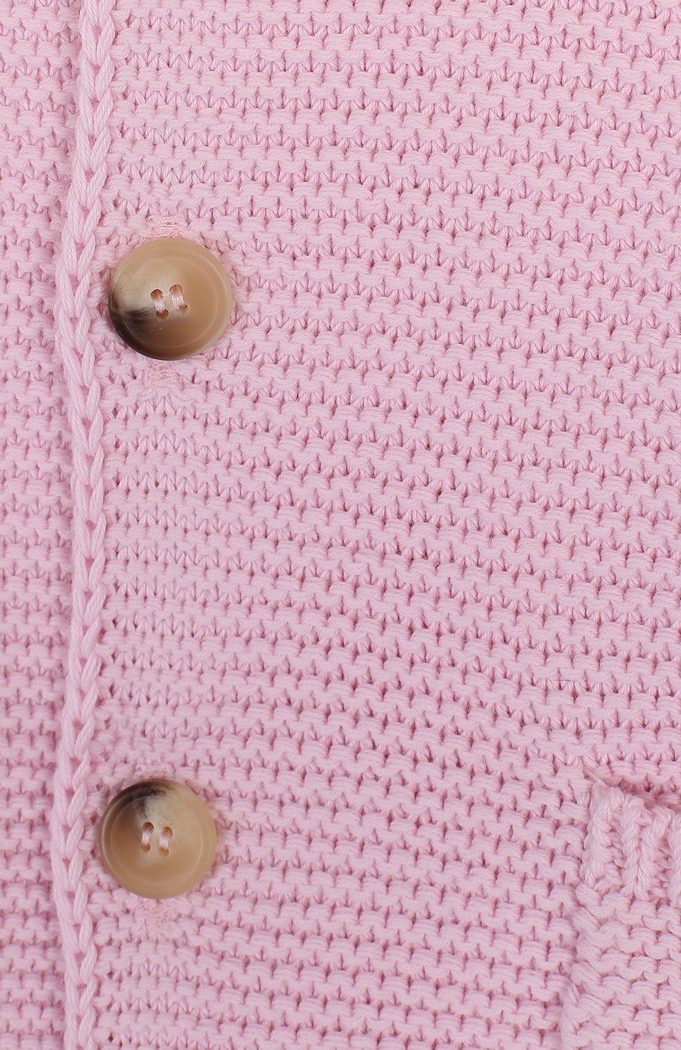 Детский хлопковый кардиган на пуговицах с капюшоном IL GUFO розового цвета, арт. P18GF250EM600/2A-4A | Фото 3