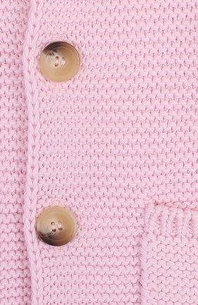 Детский хлопковый кардиган на пуговицах с капюшоном IL GUFO розового цвета, арт. P18GF250EM600/3M-9M | Фото 3
