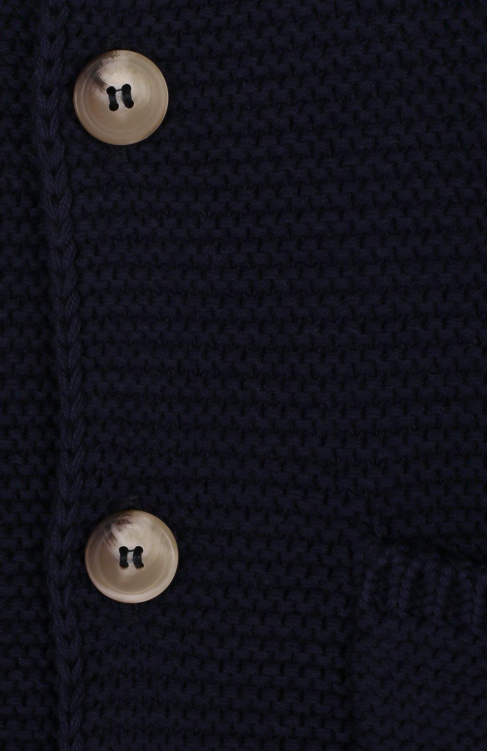 Детский хлопковый кардиган на пуговицах с капюшоном IL GUFO темно-синего цвета, арт. P18GF250EM600/3M-9M | Фото 3