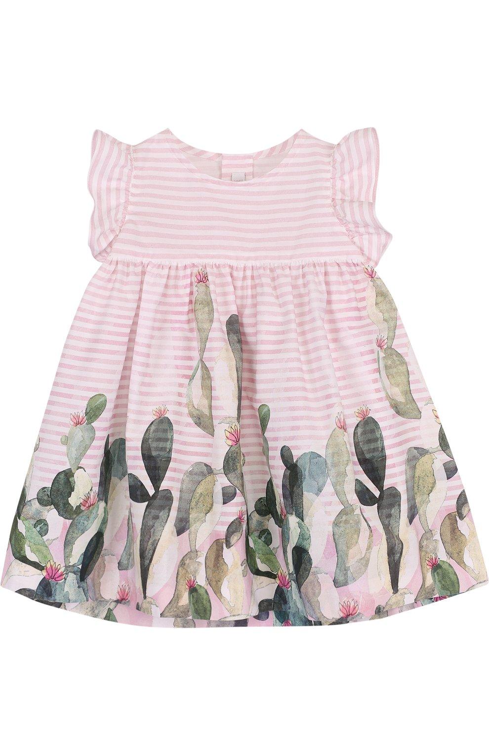 Женский хлопковое платье свободного кроя с принтом IL GUFO розового цвета, арт. P18VM431C4035/3M-9M   Фото 1