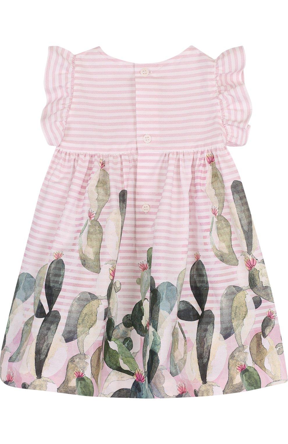 Женский хлопковое платье свободного кроя с принтом IL GUFO розового цвета, арт. P18VM431C4035/3M-9M   Фото 2