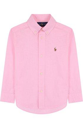 Рубашка из смеси хлопка и льна с воротником button down | Фото №1