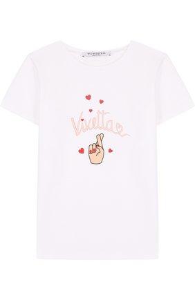Детская хлопковая футболка с принтом Vivetta белого цвета | Фото №1