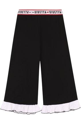 Детские укороченные брюки из хлопка свободного кроя с оборками и эластичным поясом Vivetta черного цвета | Фото №1