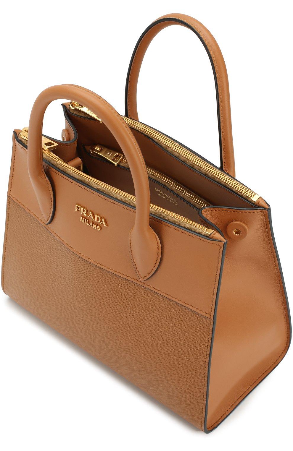e7568f4e681e Женская сумка-тоут paradigme PRADA коричневая цвета — купить за ...