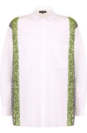 Хлопковая рубашка свободного кроя с отделкой пайетками | Фото №1