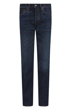 Мужские джинсы прямого кроя с потертостями TOM FORD синего цвета, арт. BPJ21/TFD002 | Фото 1