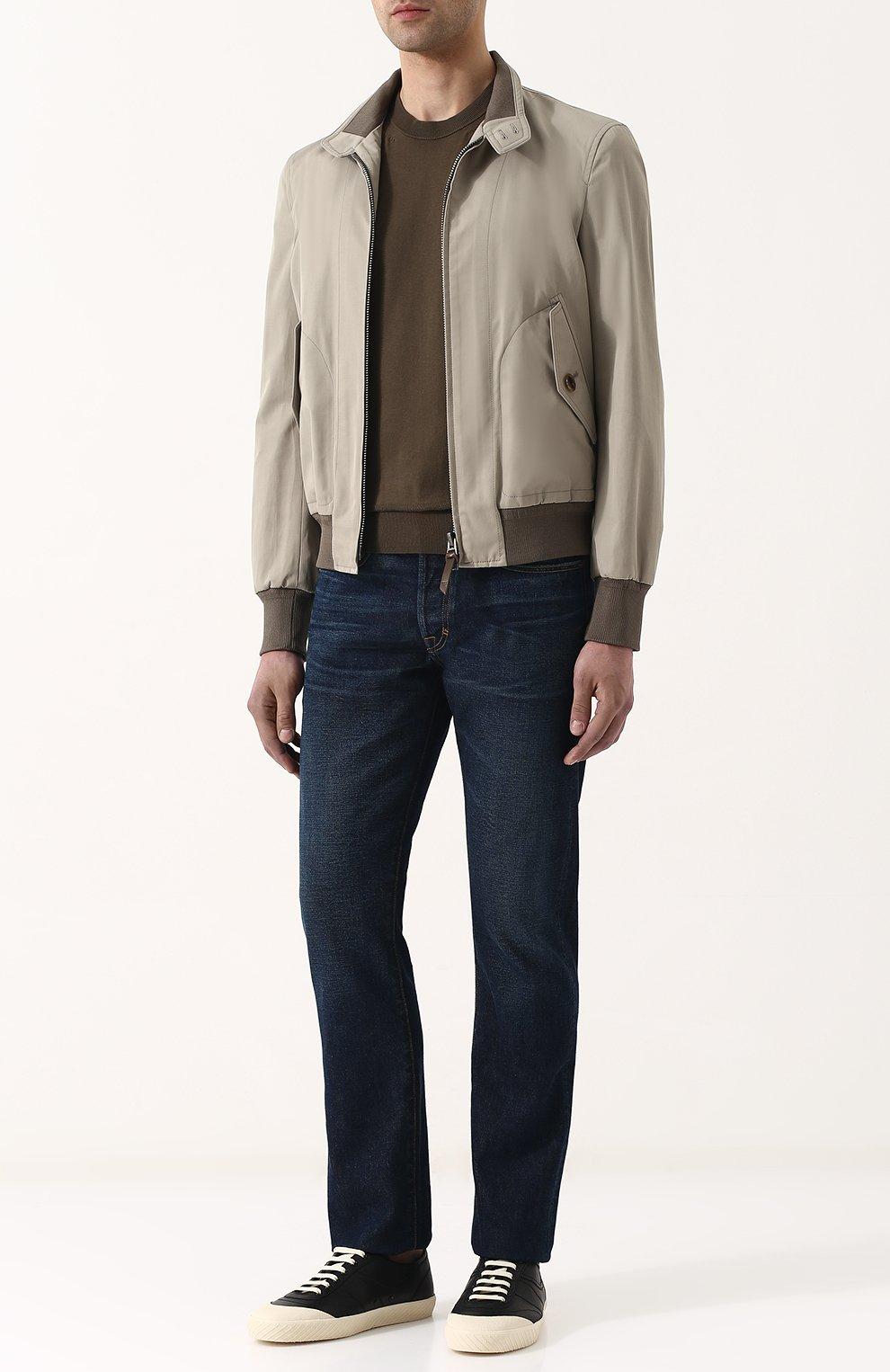 Мужские джинсы прямого кроя с потертостями TOM FORD синего цвета, арт. BPJ21/TFD002 | Фото 2