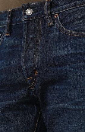 Мужские джинсы прямого кроя с потертостями TOM FORD синего цвета, арт. BPJ21/TFD002 | Фото 5