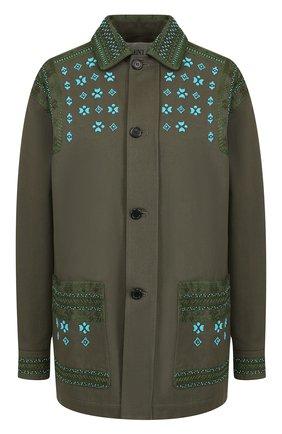 Хлопковая куртка прямого кроя с вышивкой и бахромой   Фото №1