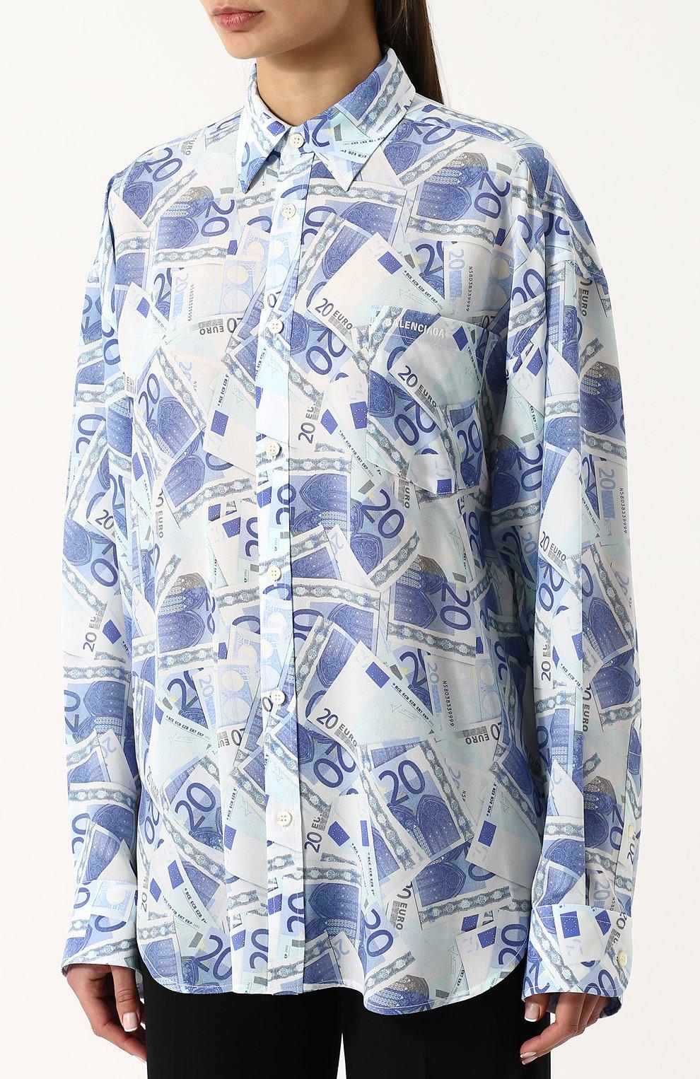2645604a6ba Женская синяя шелковая блуза свободного кроя с принтом BALENCIAGA ...