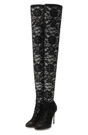Женские кружевные ботфорты coco на шпильке DOLCE & GABBANA черного цвета, арт. CU0419/AG690 | Фото 1