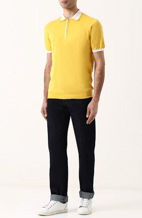 Однотонные джинсы прямого кроя Kiton темно-синие | Фото №1