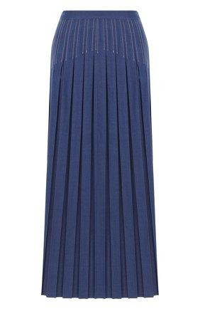 Джинсовая юбка-миди в складку | Фото №1
