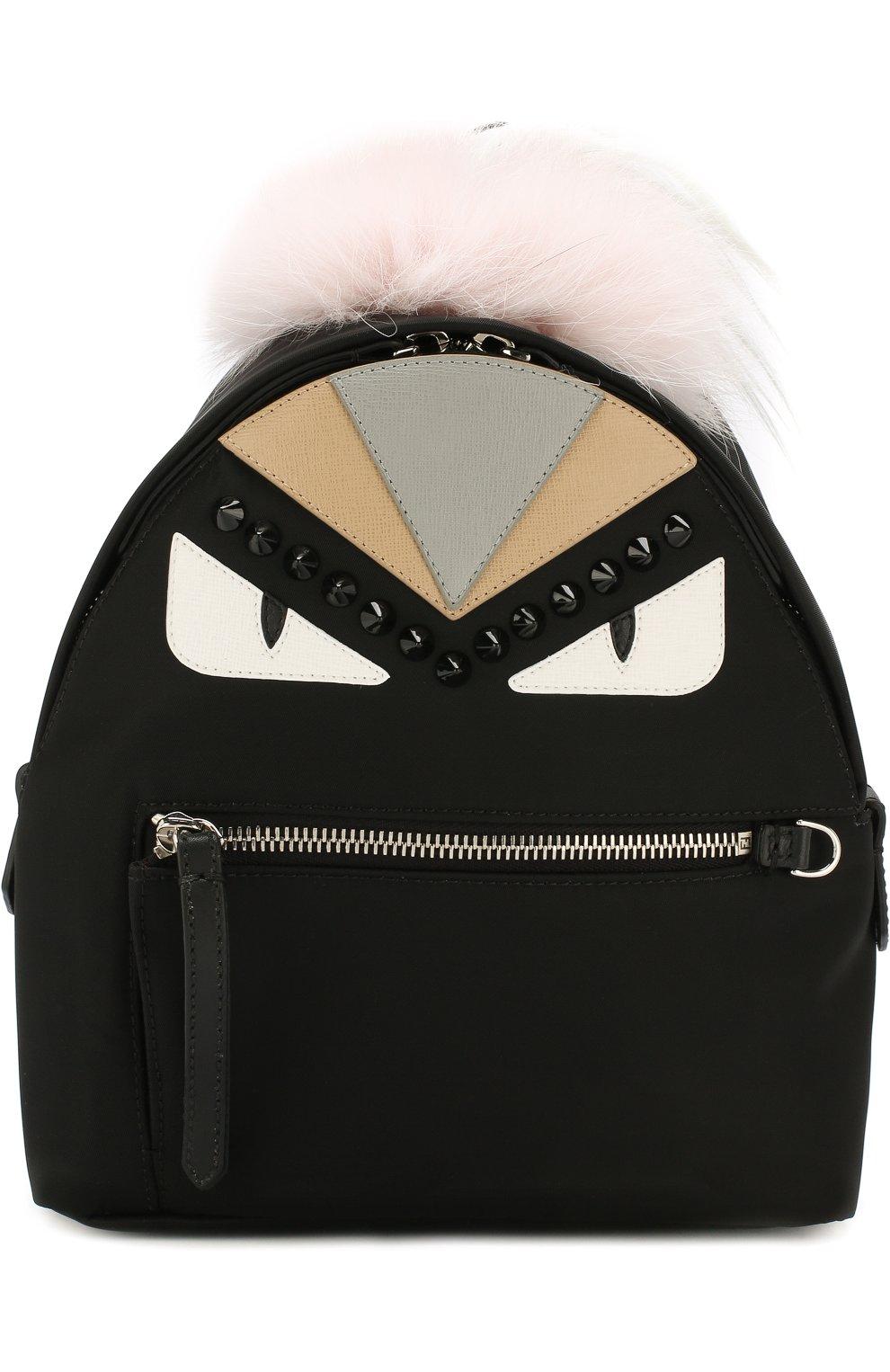 Женский рюкзак из текстиля с аппликациями bag bugs FENDI черного цвета, арт. 8BZ038 A0Y7 | Фото 1